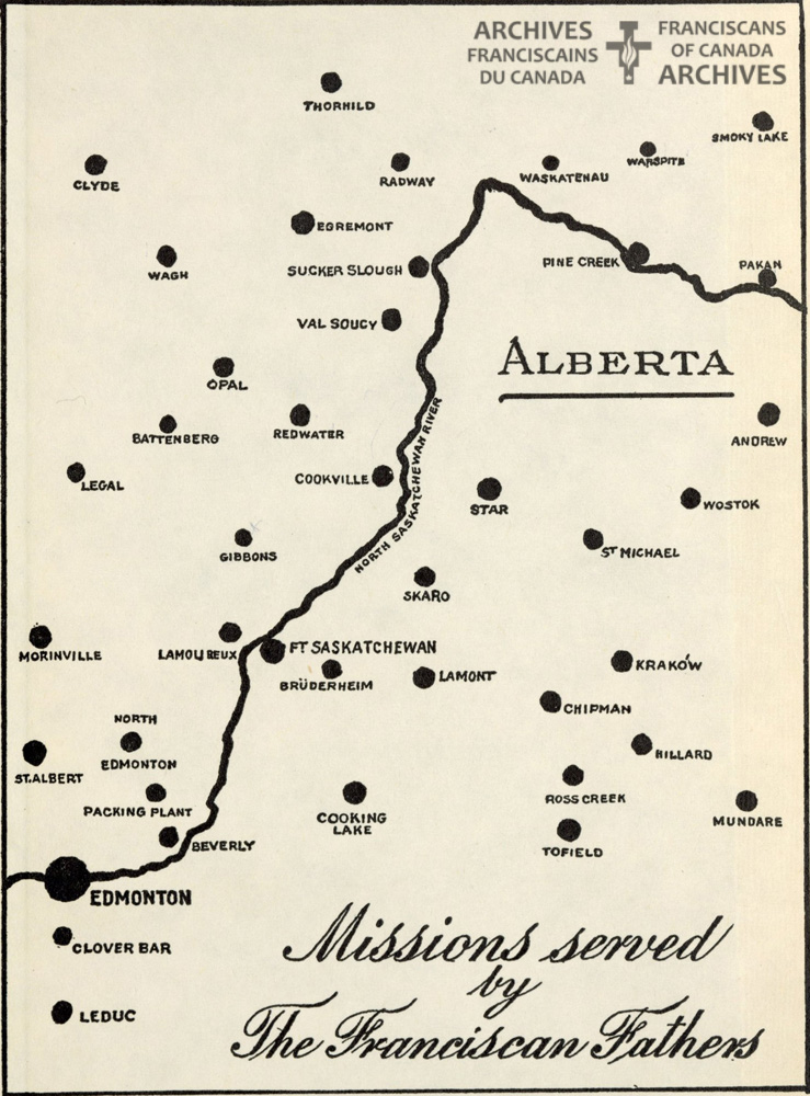 Map of missions served by Franciscans in Alberta