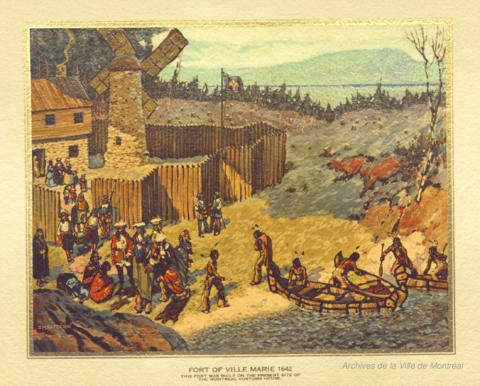 The first Christmas at the Fort of Ville-Marie in 1642